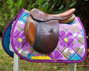 Ready to Ship - Purple and Teal Floral Close Contact Saddle Pad