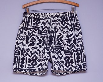 80s Surf Shorts Abstract Crazy Print Tribal Cotton Shorts
