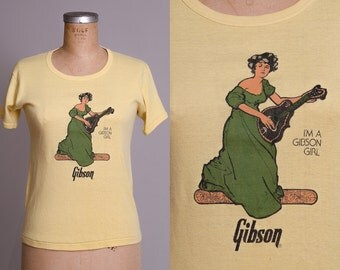 70s Gibson Girl American Beauty Gibson Guitar Parlor Girl Marguerites Music MN T Shirt