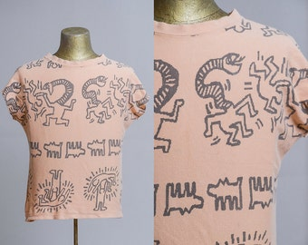 80s Keith Haring Pop Art Abstract All Over Print New Wave T Shirt