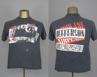 80s Jefferson Airplane Tour T Shirt Soft Grey Cotton Concert Tee