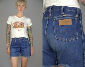 50s Wrangler Dark Denim High Waisted Western Jean Shorts W 31