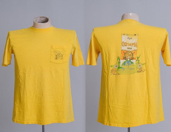 70s oly beer single pocket olympia yellow cotton t shirt. Black Bedroom Furniture Sets. Home Design Ideas