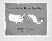 Custom Wedding Print Destination Wedding Gift Memento Marriage Couple print Signature Guest Books USA States Map Wedding Signature Map