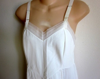 Vintage full slip white nylon nightgown double front panel sexy lingerie 36