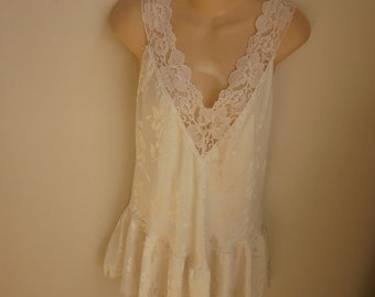 Vintage Victoria's Secret nightgown white silky sexy lingerie babydoll M