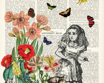 Alice in Wonderland wall art - LARGE archival print - Alice book page art - flowers and butterflies - digital print