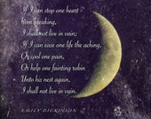 Emily Dickinson poem, Crescent Moon photograph with quotation, word art, poetry art, inspiring words, moon photo quote