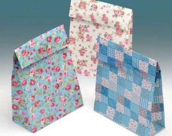 Small Gift Bags - Set of 12 Paper - Party Wedding Favour - Ditsy Floral Vintage