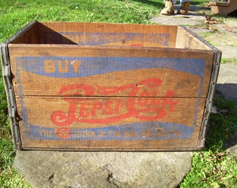 Antique Double Dot Pepsi Cola Wooden Advertising Box - Crate
