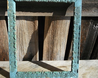 Antique Shabby Blue Wooden Picture Frame
