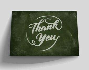 Printable Thank You Card, Chalkboard Thank You Card, DIY Instant Download, Wedding Birthday Thank You Card, Hand Drawn Writing, Blackboard
