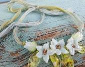 Lampwork Flower Necklace -  Glass  Flower Necklace, Hand Made Necklace  SRAJD, FHF Y3