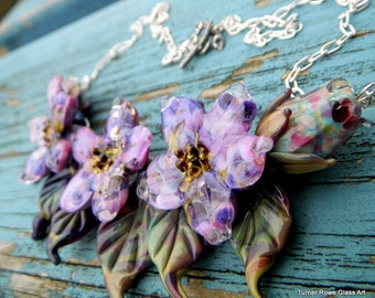Lampwork Flower Necklace -  Glass  Flower Necklace, Hand Made Necklace  SRAJD, FHF Y3
