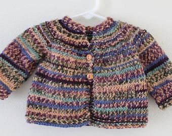 Knit Sweater -  Baby 3 to 6 months - Children's Cardigan Sweater - Songbird