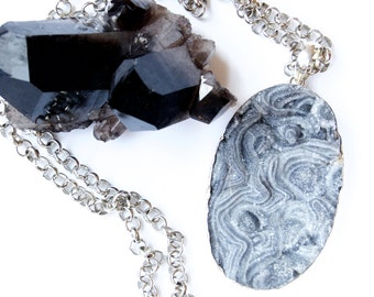 Large Grey Desert Druzy- Sterling Silver-Necklace-Statement Necklace/Pendant