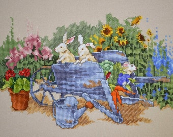 Unframed Completed Cross Stitch Wall Art Summer Garden Scene