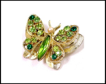 Rhinestone Butterfly Brooch, 2 Tone Green, Gold Tiered 3-D Butterfly, Green Butterfly, Gold Butterfly, Gift For Her