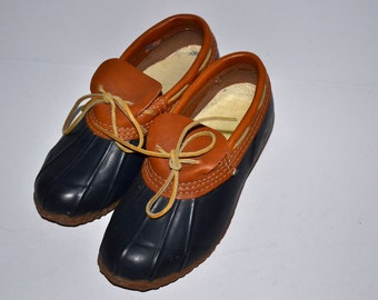 Vintage 80s  Original duck waterproof blue brown shoes leather trimmed rubber boots size 6 comfortable women spring fall shoes
