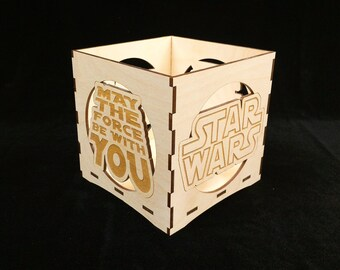 Star Wars engraved candle holder-Unfinished wood candle box-gift box-centerpiece-Movie candle holder-May the force be with you candle holder