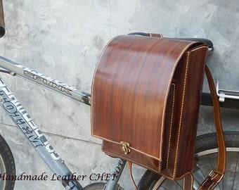 RANDOSERU Brown Japanese style backpack for kids/ women/ men/ made of saddle leather