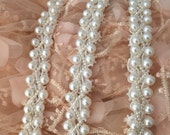 Beaded Lace Trim , Pearl Lace Trim in Ivory for Jewelry, Bridal Sash, Wedding Gown Belt