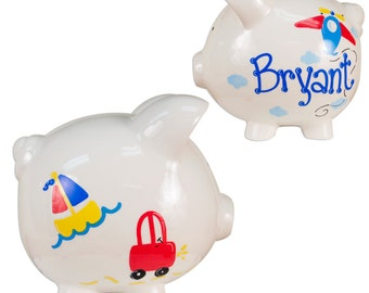 Hand Painted Personalized Airplane Piggy Bank for boys Airplanes Transportation Planes Car Travel Nursery Baby Shower Gift Banks PIGG-whi-28