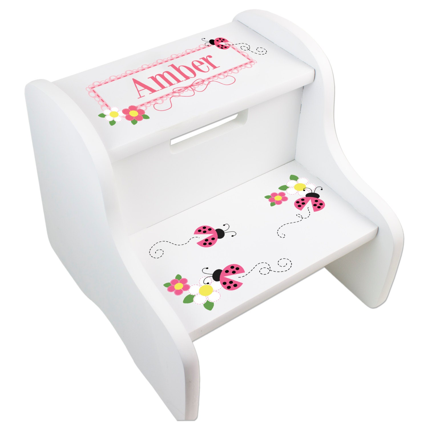 Girls Personalized Ladybug Step Stool Custom White Step Stools