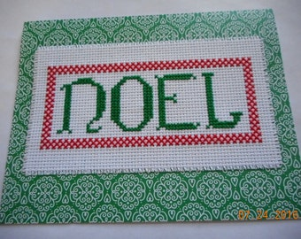 completed cross stitch Christmas card  NOEL