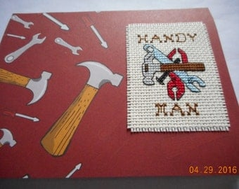 completed cross stitch Father's Day card  Dad's Birthday Handy Man