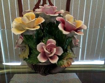 Large Vintage Capodimonte Flower Centerpiece FREE Shipping