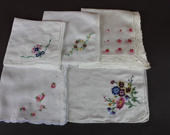 5 Vintage Floral Handkerchiefs Embroidered