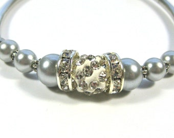 Silver Pearls and rhinestones bracelet, silver bridal bracelet