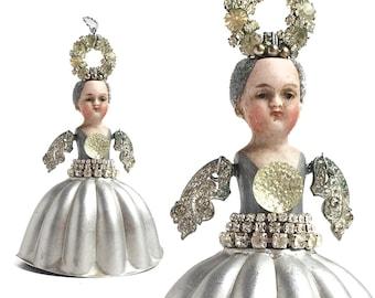 mixed media Angel, assemblage art, Guardian Angel, angel ornament, altered art doll by Elizabeth Rosen