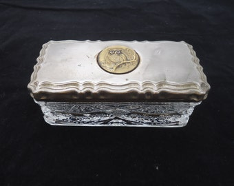 Vintage Cut Glass Trinket Box with Metal Lid, Rectangular Glass Trinket Box with Brass Owl