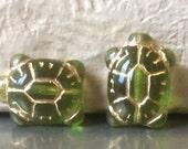 Czech Turtle Bead 20mm X 8mm Olivine Gold Qty 2