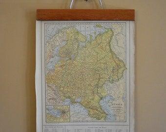 Vintage Old World Map~ Russia & Balkan States / Original 1925 World Atlas Map