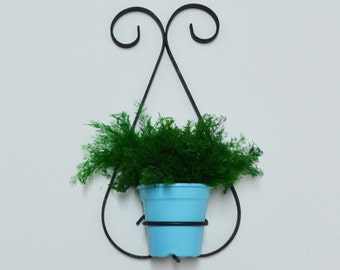 Mid Century Iron Wall Planter with Turquoise Pot