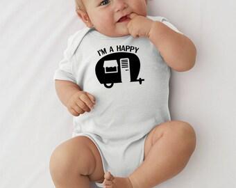 Happy Camper Baby Onesie Happy baby onesie Camping onesie