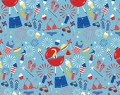 SALE Summer Celebration Main Blue Riley Blake- one yard increments, quilting fabric