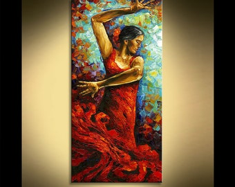 "Paula Nizamas Original Flamenco Dancer Gallery Quality Professional Oil Painting by , Size 48"" x 24"""