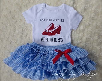 Parley Ray Dorothy Inspired No Place Like Grandma's Bodysuit  and Blue Gingham All Around Ruffled Baby Bloomers / Diaper Cover