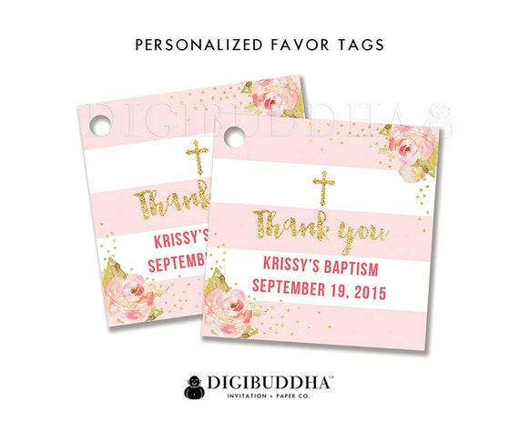 Favor tags baptism favor tag thank you tag baby shower favor like this item negle Gallery