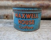 Vintage Tin Coffee Can Maxwell House Metal Tin Container Storage Display Country Farm Retro Kitchen Rustic Primitive Vtg Old Tin Can