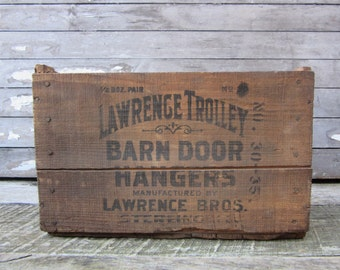 RARE Antique Wood Box Lawrence Trolley Barn Door Tracking Hanger Crate Sterling Illinois Wooden Box Rustic Aged Display Early 1900s Era