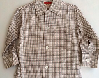 Vintage 1950s 60s Boys Tom Sawyer Cotton Black Brown Plaid Shirt 4