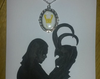 Loki Helmet Silhoutte Avengers Hand Painted Greetings Card with matching Cameo Necklace