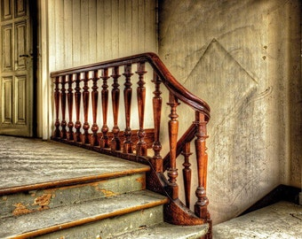 Art Photograph of old Wooden Stair Rail