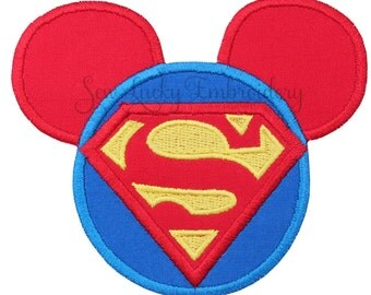 Superhero Mouse Head Applique Embroidered Patch , Sew or Iron on