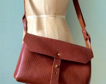 Brown leather handbag, mini messenger bag, mid brown veg tan leather satchel / saddlebag